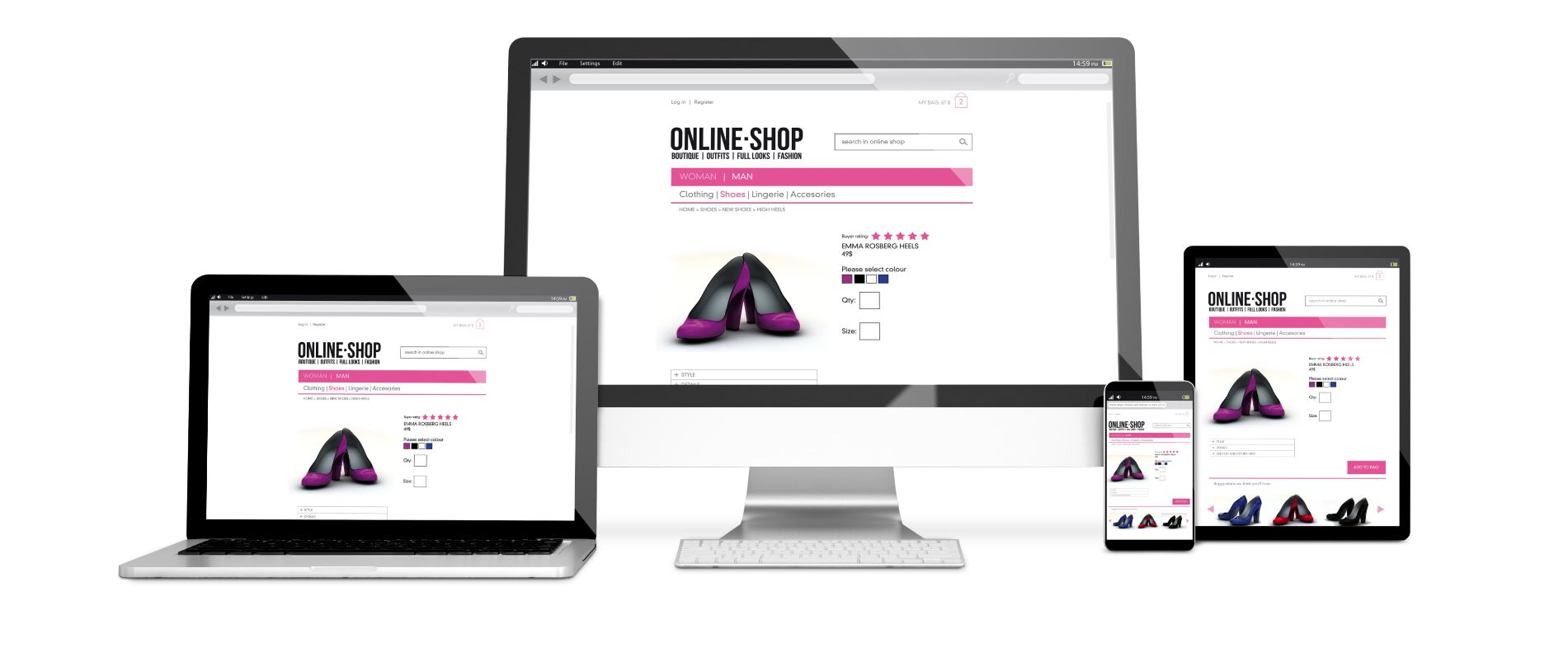 website design with ecommerce